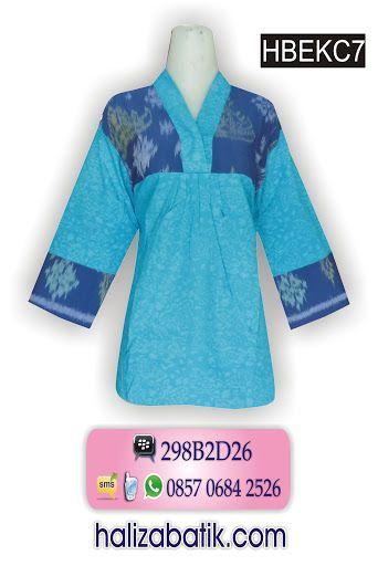 Batik Modern Atasan Batik Embos Warna Biru Blus Batik Kombinasi