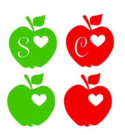 Download Teacher Apple Heart Vinyl Decal - With or Without Initial ...