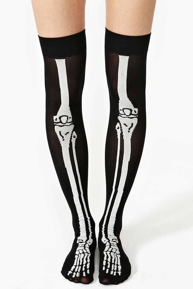 567f31145d2 Skeleton Thigh Highs. Also trying to find Skeleton leggings