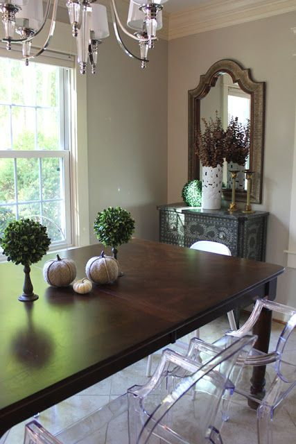 Farmhouse Table Ghost Chairs Grey Dining Room