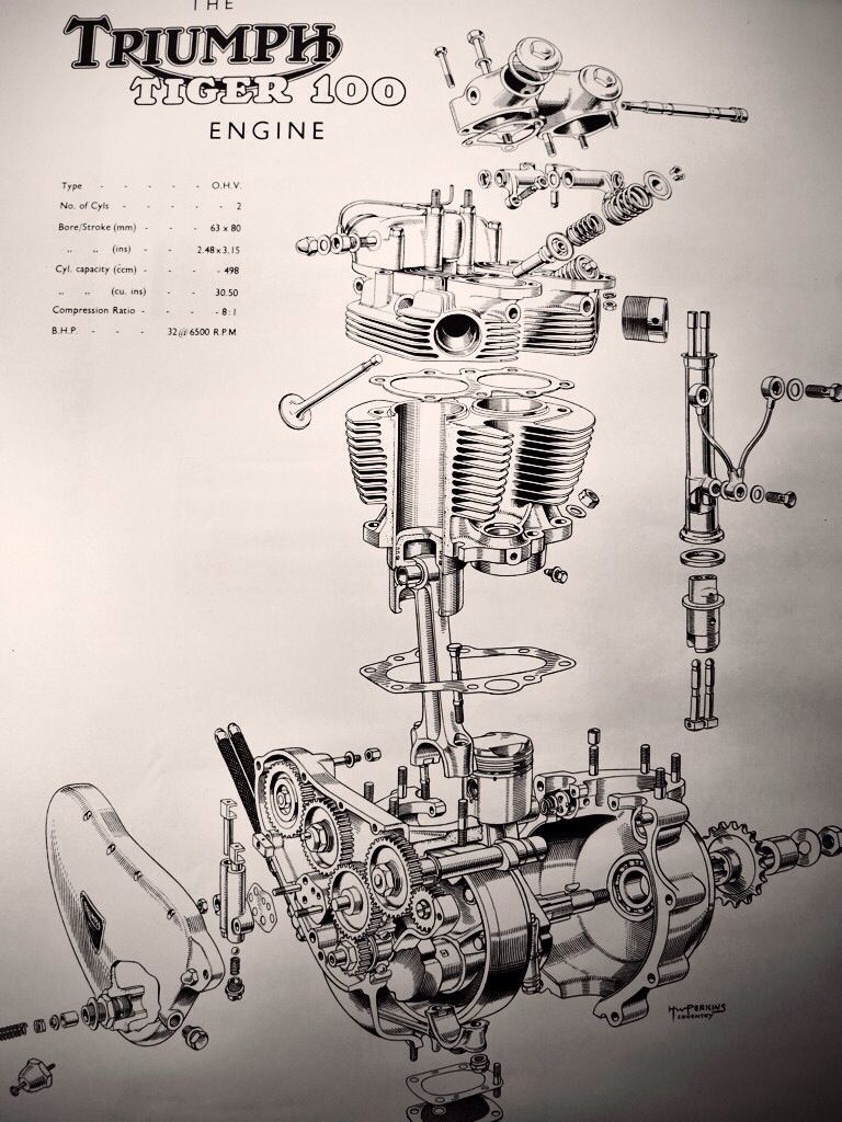 The Tiger T100 Engine Art Of Triumph Pinterest Motoorcycle Engines Diagram British Motorcycles Vintage Custom