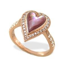 Rose Gold Heart Ring with Mother of Pearl Inlay and Diamonds Pink