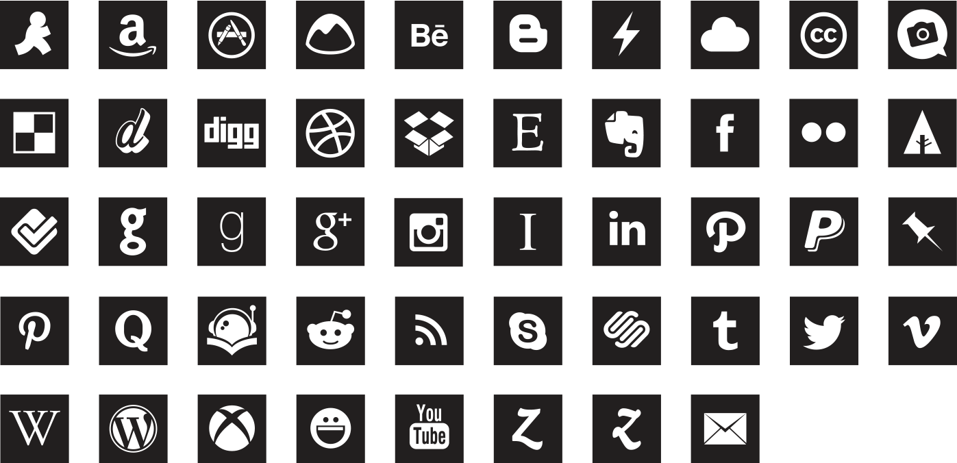 Social Media Icons Black And White Square