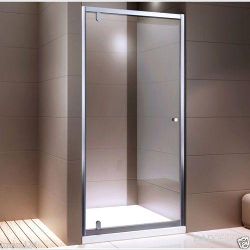Porta doccia battente ex306 per nicchia vetro trasparente striscia satin 80 95cm bagno - Box doccia pentagonale ...