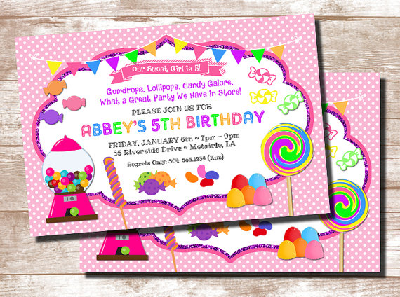Candy Theme Invitation Candyland Invitation Candy Party
