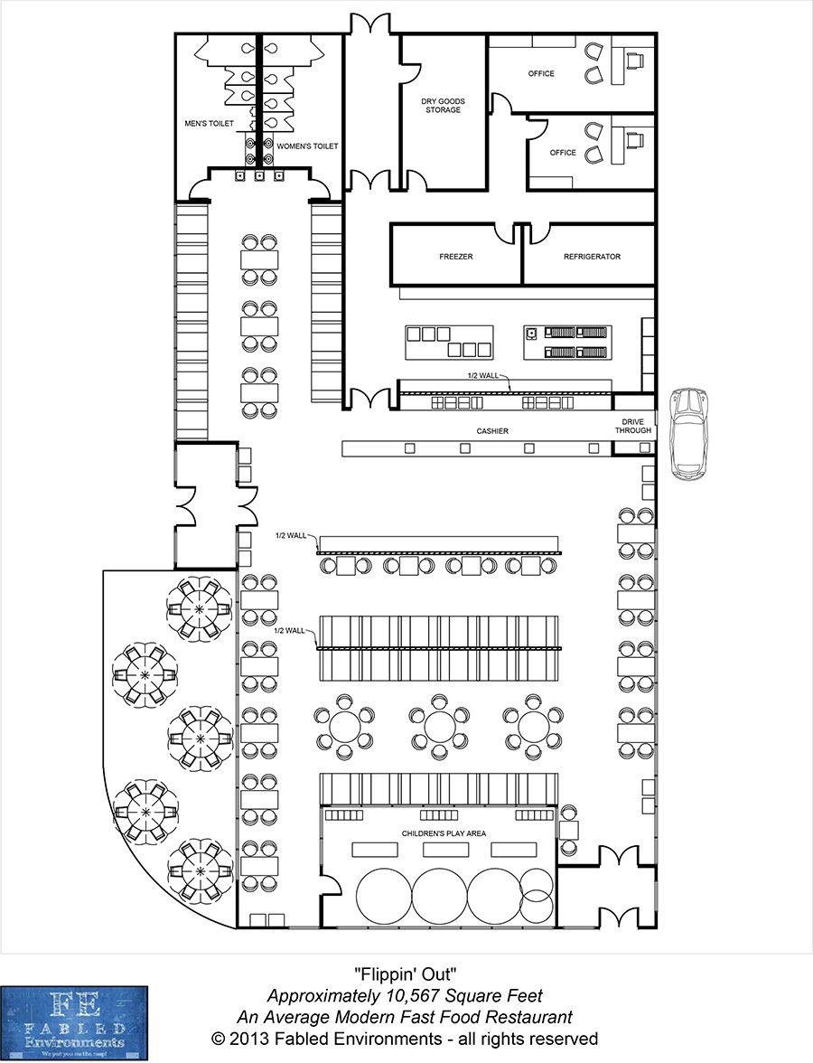 Modern Floorplans: An Average Modern Fast Food Restaurant
