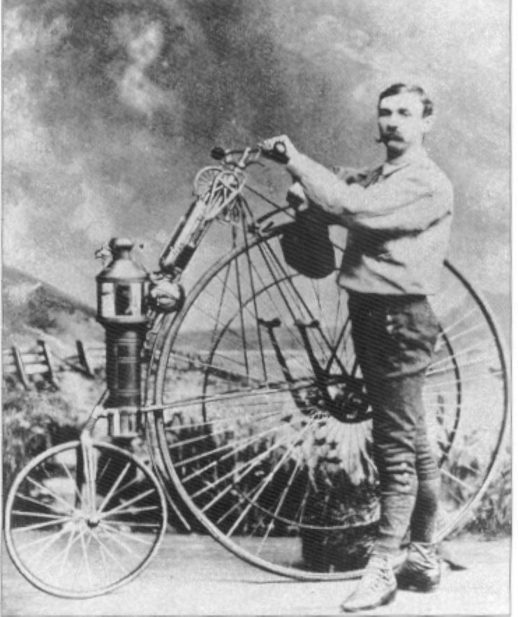 legrandcirque:    Lucius Copeland with an early motorcycle, 1894.