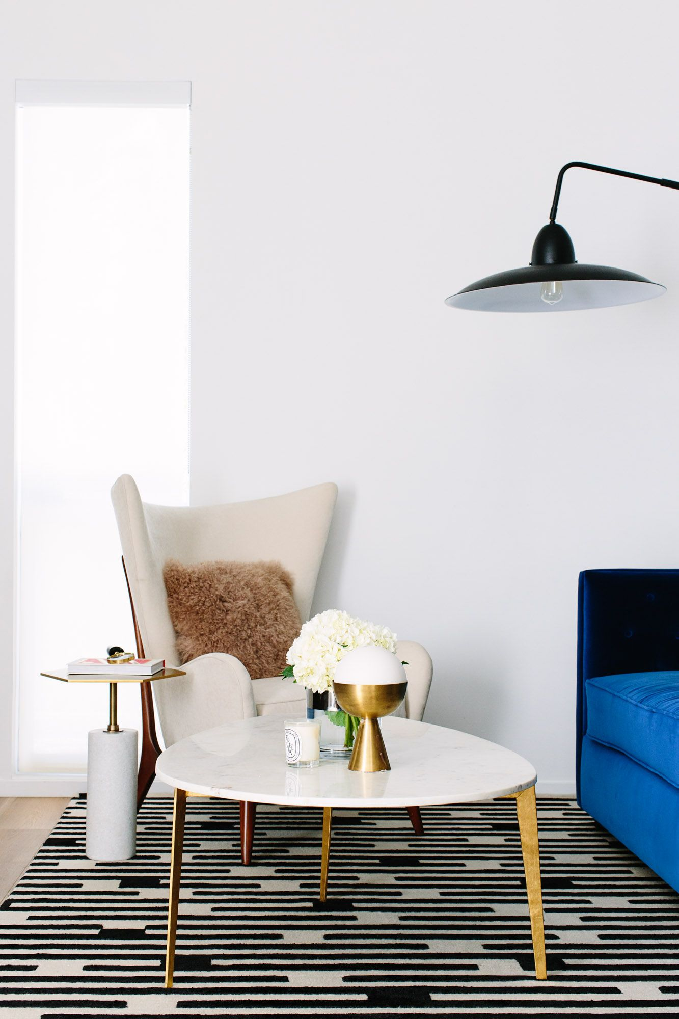 Love This Retro Modern Mix Of Geometric Shapes Gold Accents And Monochromatic Blac Luxe Living Room Creative Living Room Ideas Buy Modern Furniture