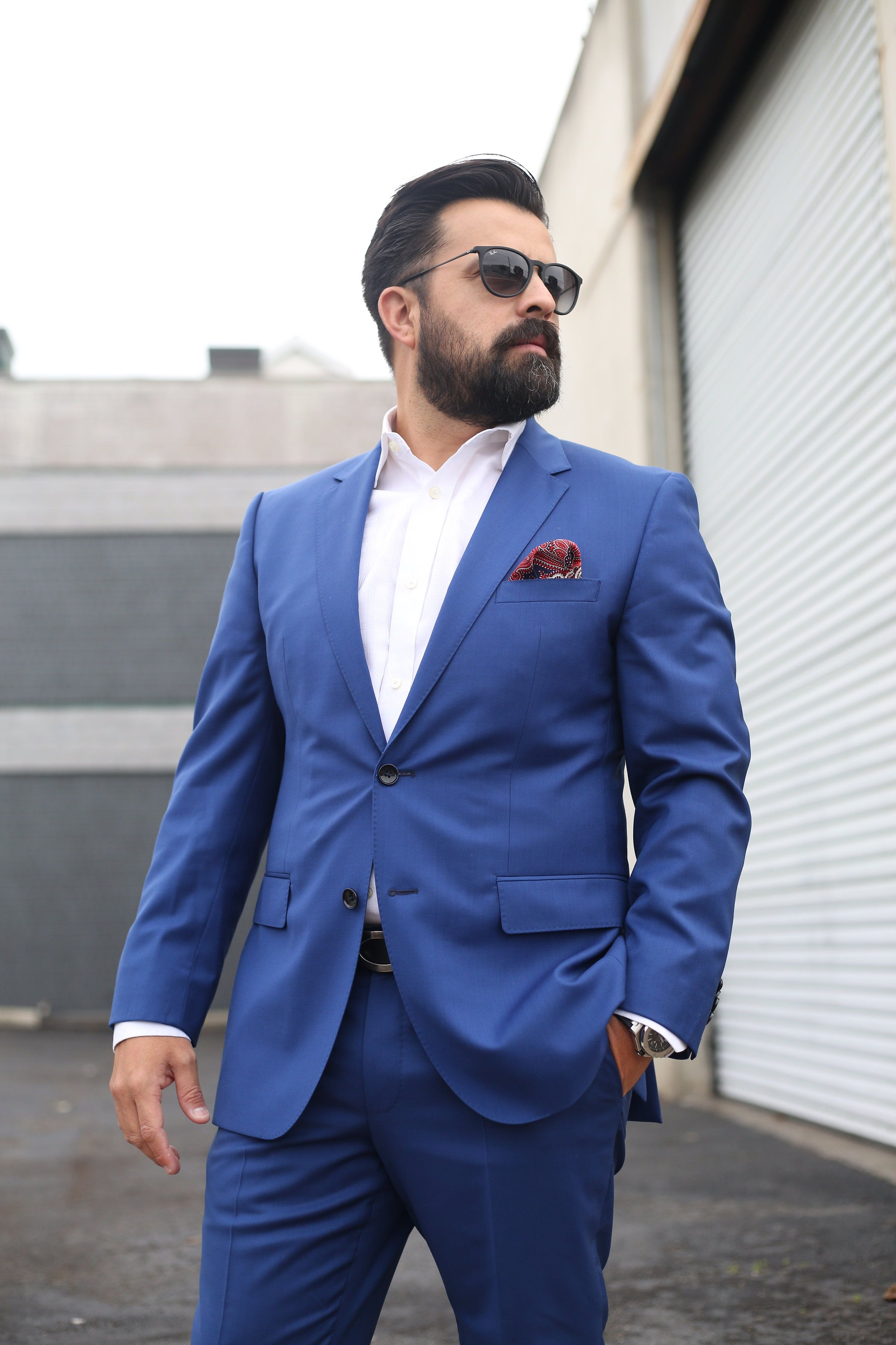 Hugo boss blue suit hot guys with beards or stubble pinterest