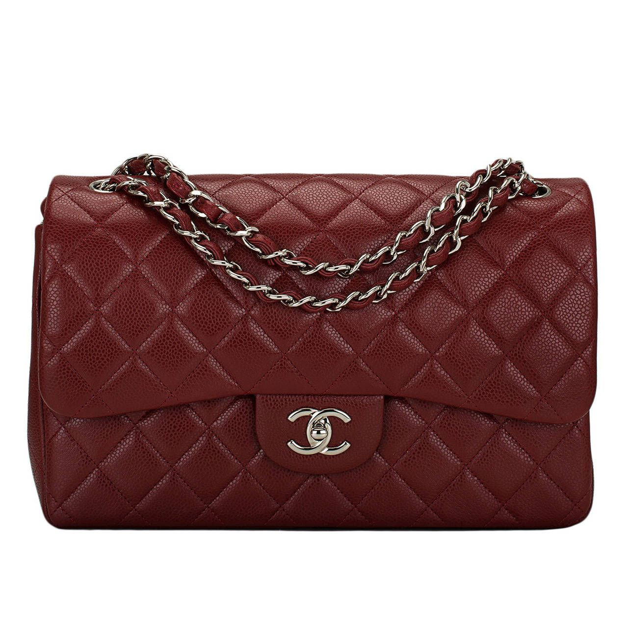 90b0ffe07efe Chanel Maroon Red Quilted Caviar Jumbo Classic Double Flap Bag in ...