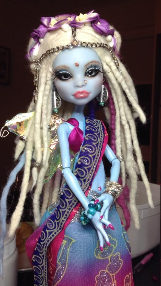 Custom order for Carolyn via Etsy....OOAK Abby with glass inset eyes, hand rolled dreadlocks, bollywood style saree by Zerrin-Leon