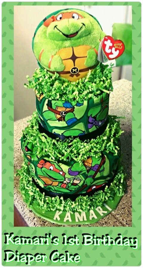 Baby Shower Diapers · Teenage Mutant Ninja Turtle Diaper Cake