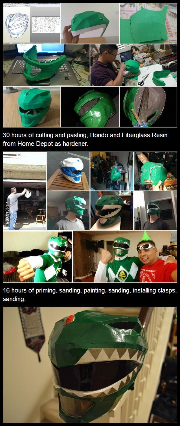 Couldn't find the Green Ranger mask to buy online; so I started making one