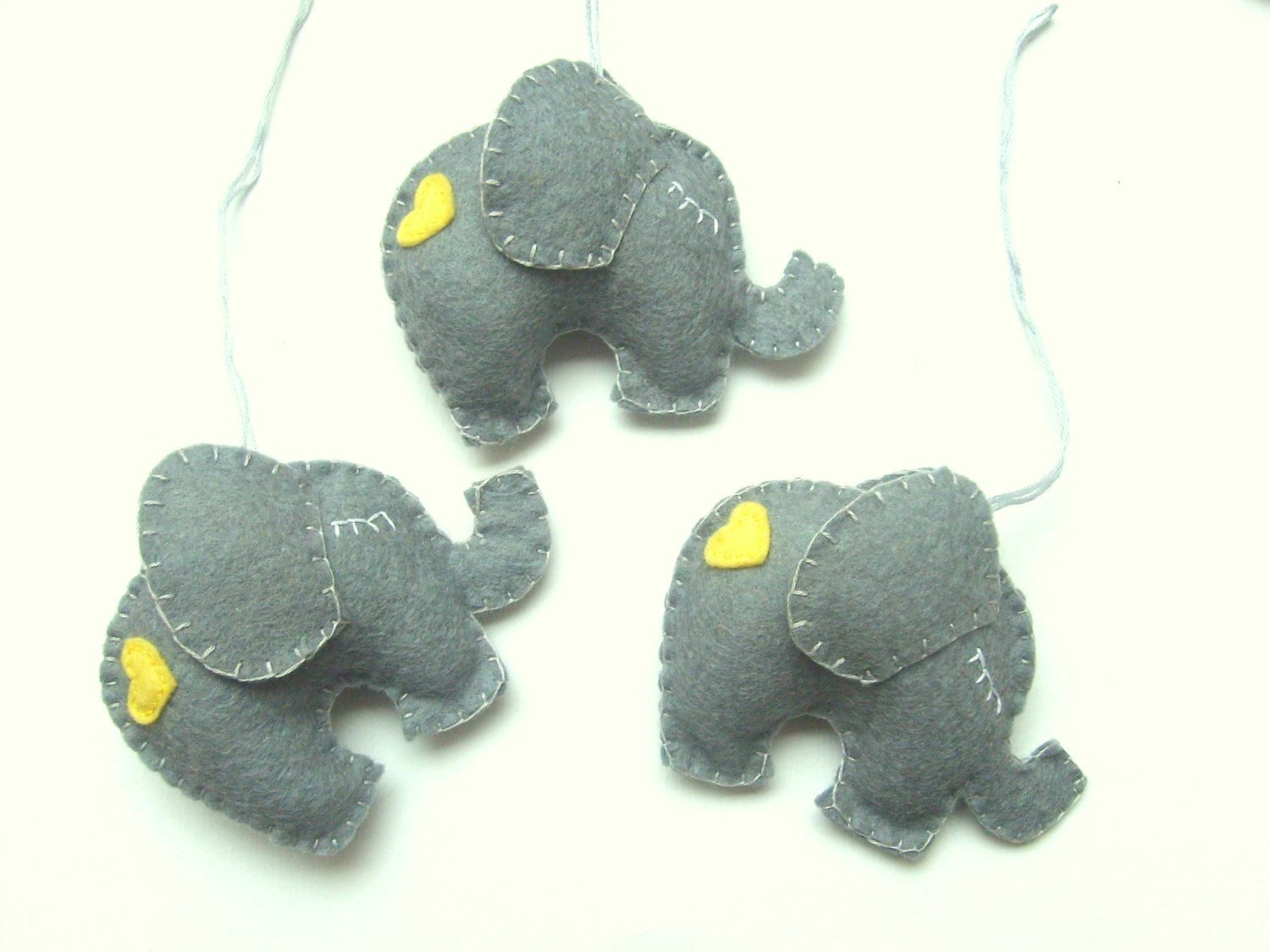 Lovely Elephant ornament - felt ornaments - Christmas/Housewarming home decor - Baby shower ornaments - Grey elephant with pink heart - pinned by pin4etsy.com