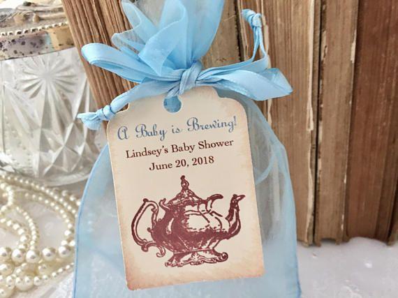Boy Baby Shower Tea Party Favor Bags, Boy Tea Part