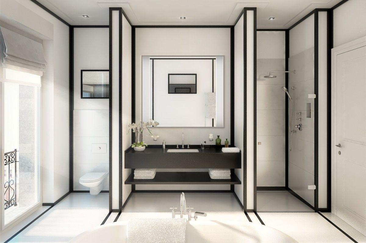 der trend in schwarz wei zu wohnen zieht auch im badezimmer ein dunkle linien umrahmen hellen. Black Bedroom Furniture Sets. Home Design Ideas