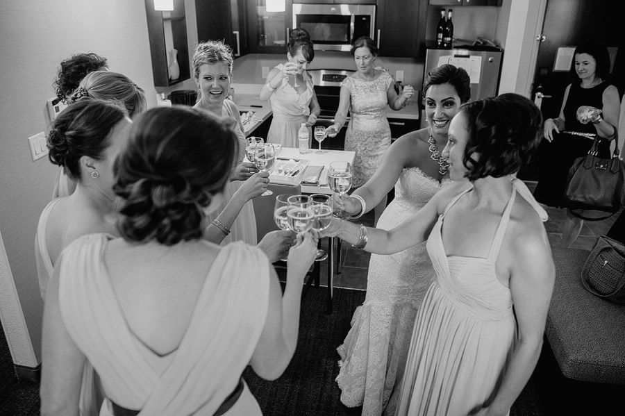 Matt Shumate Photography bride and bridesmaids getting ready and toasting before ceremony