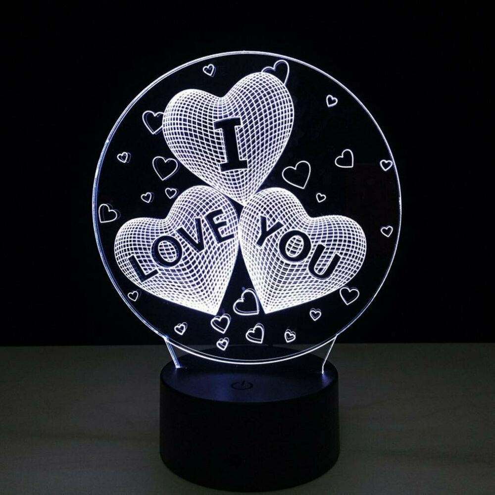 I Love You 3d Illusion Visual Lamps 7 Color Change Led Night Light