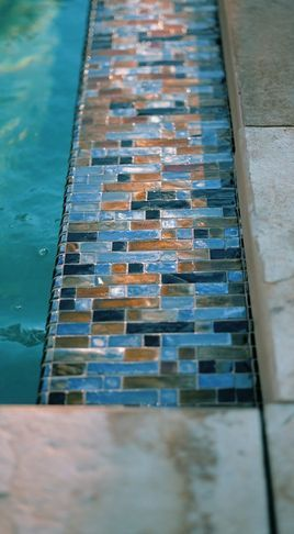 Mosaic Brick Pool Tiles In Light Blue Navy And Brown