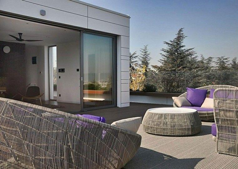 estupenda terraza sillones modernos ratan