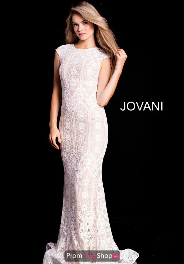 5d829c87e2 Sophisticated Jovani prom dress 52093 is a lace style showcasing a high  neckline with dainty cap sleeves