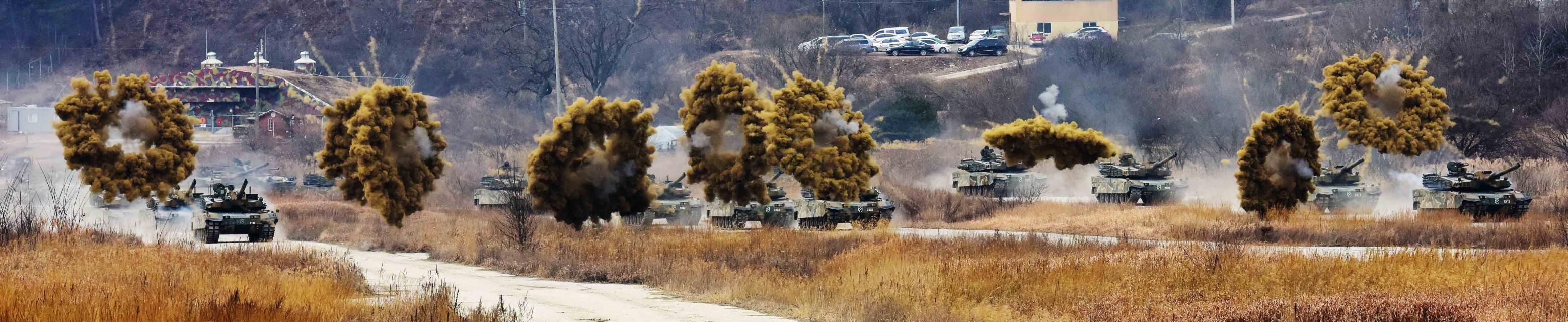 K2 Black Panther MBTs of the Republic of Korea Army deploy smoke grenades during a training exercise [3115 x 640]