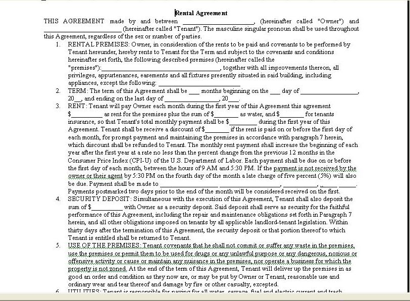 Printable Sample Room Rental Agreement Form Form  Printable Lease Forms