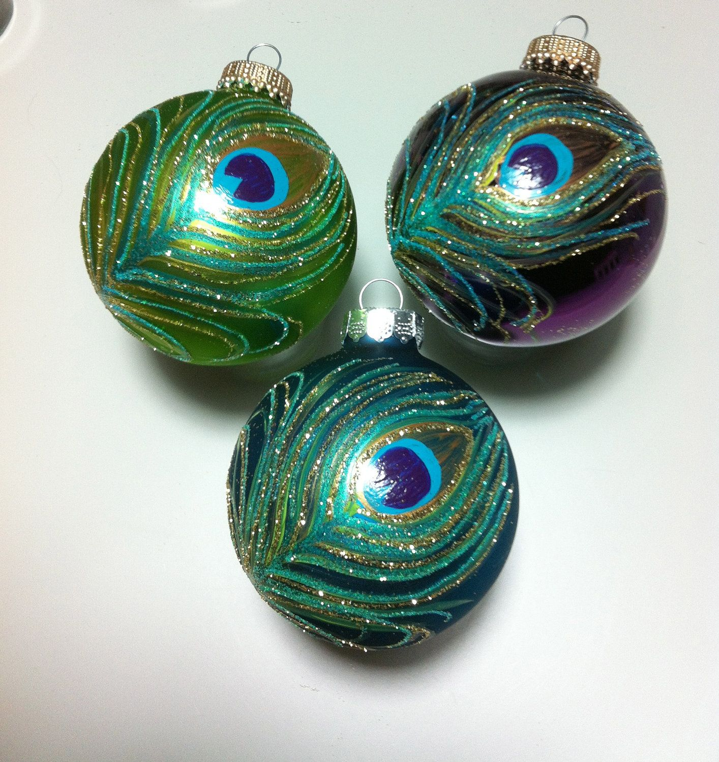 Beautiful glass ornaments - Hand Painted Peacock Feather On Glass Ornament