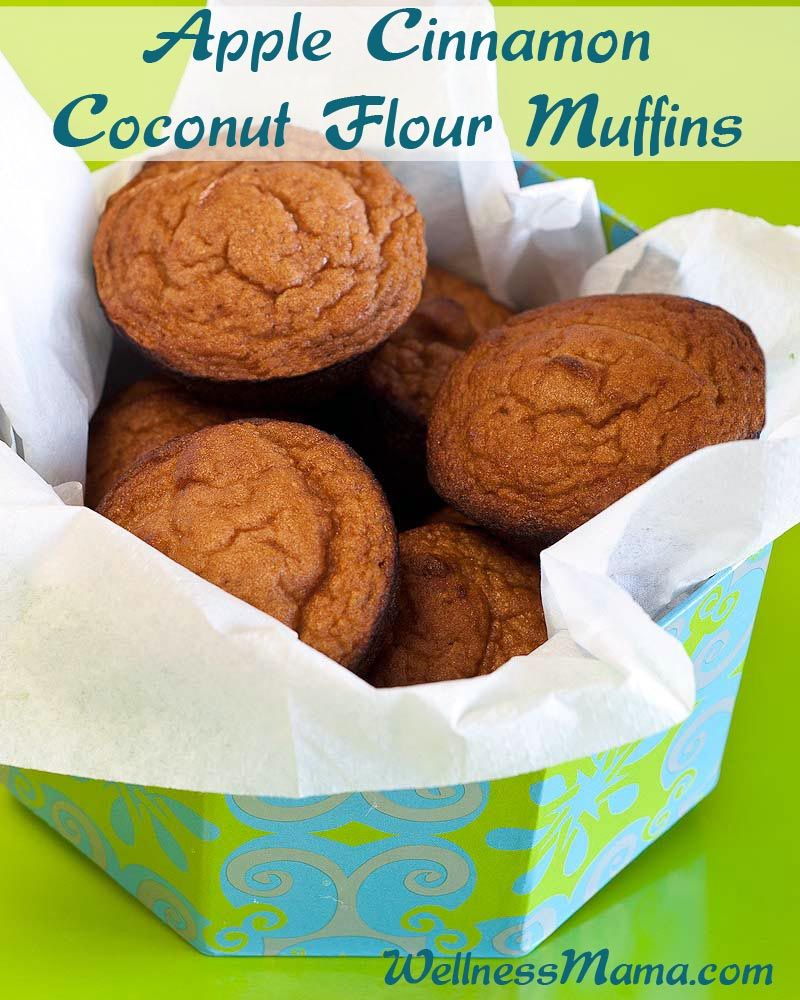 """Apple Cinnamon Coconut Flour Muffins - Wellness Mama -- These were ok...didn't taste like much, but they didn't taste bad so the kids still ate them. If you have a super picky eater and are switching to """"healthy"""" muffins...these could be a good place to start...."""