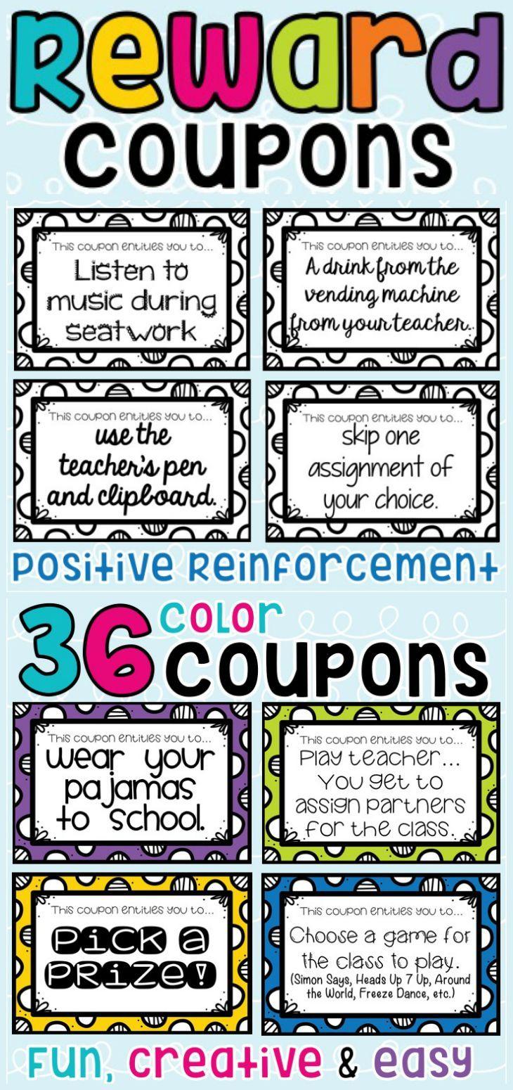 Reward Coupons for Positive Classroom Management   Behavior   Pinterest