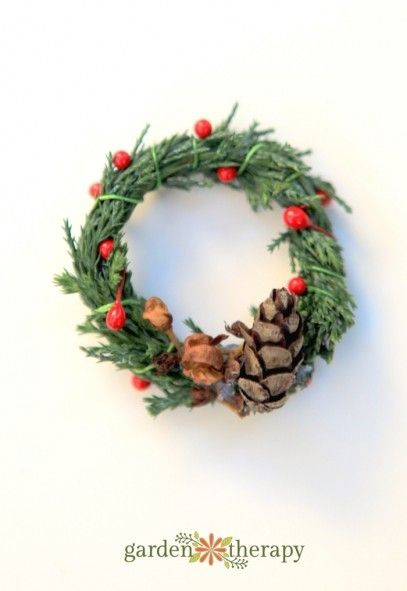 Miniature Evergreen Wreath Ornaments - Garden Therapy
