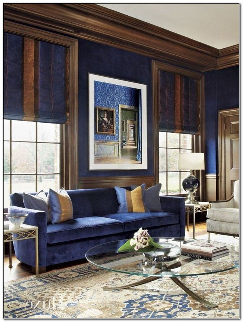 royal blue and brown living room | blue living room decor