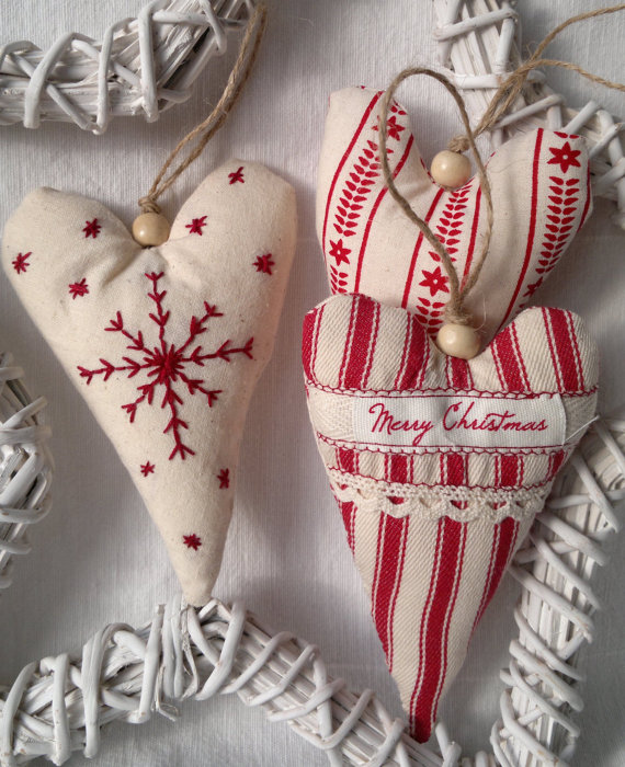 Christmas Heart Decoration.Set Of Three Red And White Christmas Heart Fabric Ornament