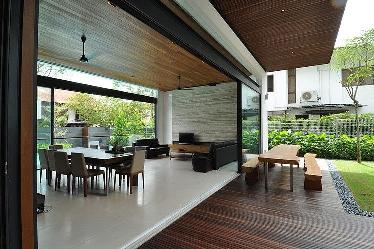 Calm Modern Residence With Airy Feel Fantastic Wooden Patio Concept Table In Sunset Terrace House Architology Living Space M