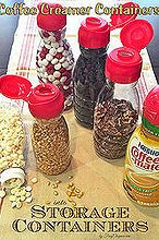 brilliant way to reuse your coffee mate containers, organizing, repurposing upcycling, storage ideas