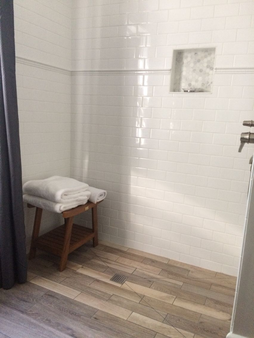 Wood Look Ceramic Tile Floor White Subway Tile With Chair Rail Chairrail Wood Look Tile Floor Wood Floor Bathroom White Subway Tile Bathroom