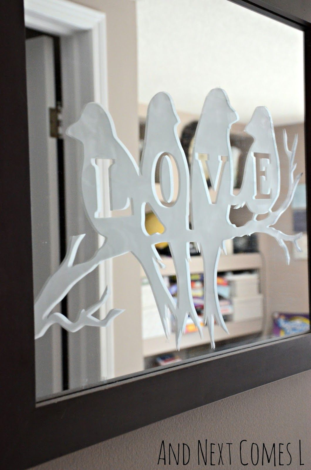 Lovebirds Etched Mirror | Glass etching, Etchings and Cricut