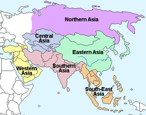 Asia regions on the site \