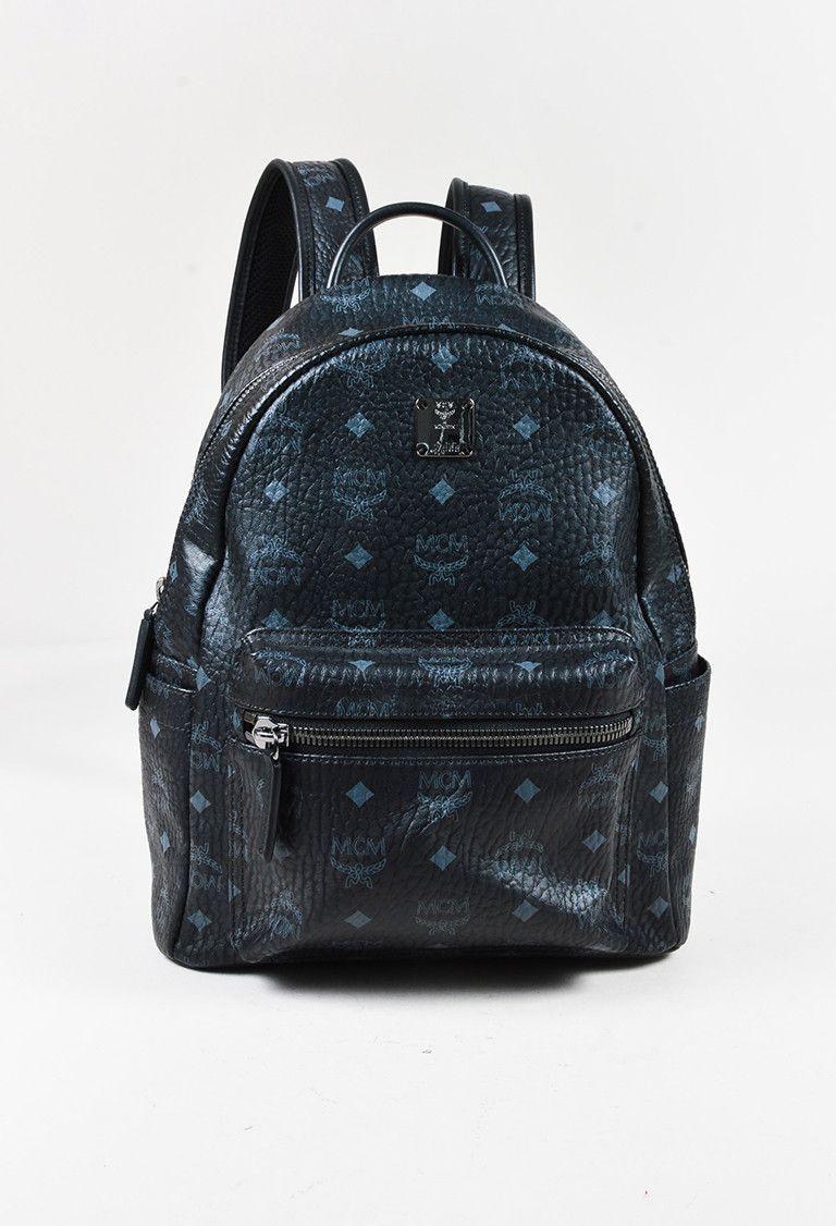 "MCM Black Coated Canvas Monogram Print Small ""Stark"" Backpack Bag – Luxury Garage Sale"