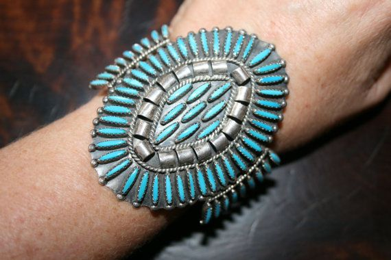 Knock Out Zuni Needlepoint Turquoise Sterling Cuff
