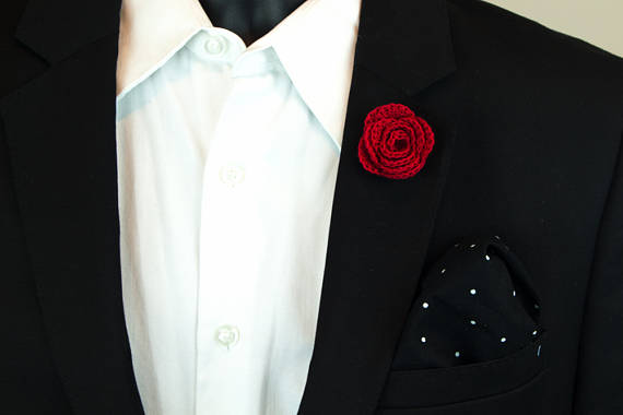 9d76ccab94f Red Rose Men's Lapel Flower, boutonniere, Suit Flower and Black with White  Polka dot Pocket Square Combo. Find this Pin ...