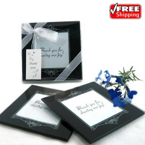Wedding Glass Photo Picture Frame Coaster Black Guest Favor Gift Set ...