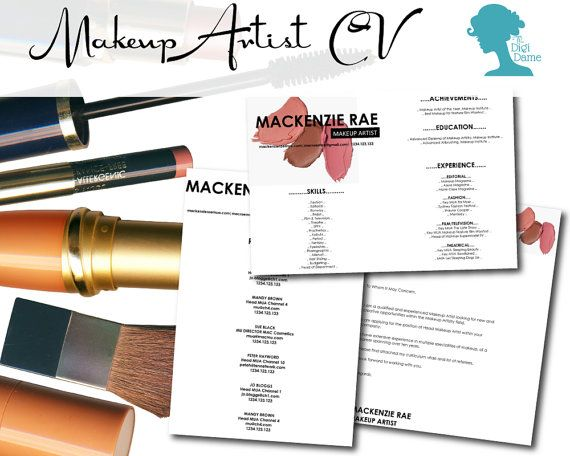 CV Template Package Makeup Artist Includes a CV, Cover Letter - make up artist resume