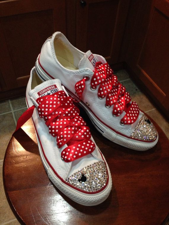 41a9aa28be3fd5 ADULT Minnie Mouse bling Converse by Munchkenzz on Etsy