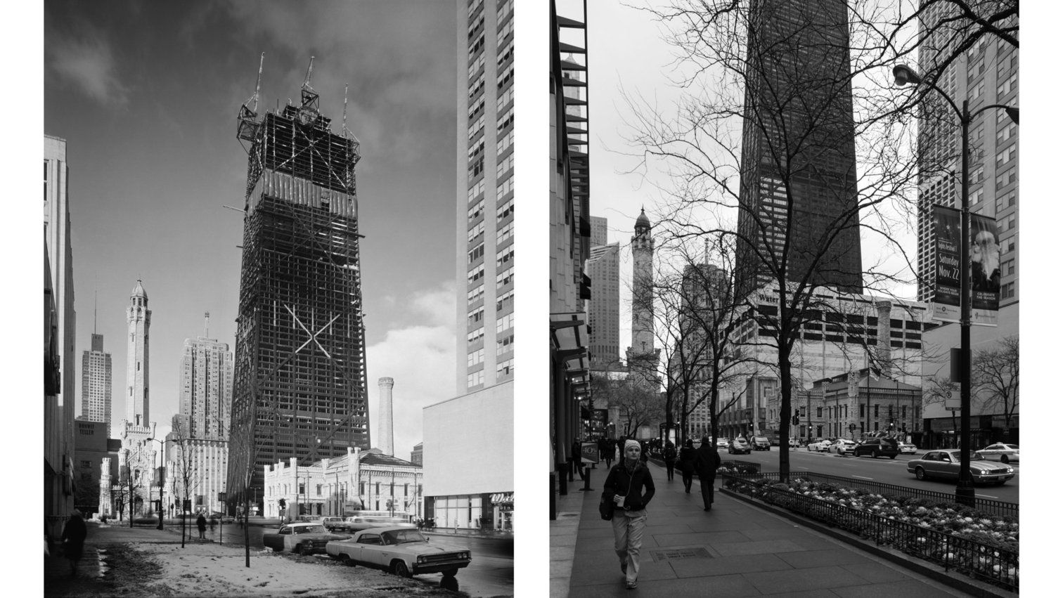 Left: The construction of the John Hancock Center circa 1965-1969. Right: The Hancock Center is completed, as is Water Tower Place. The historic water tower buildings and a ground-floor Walgreens at right remain the same.