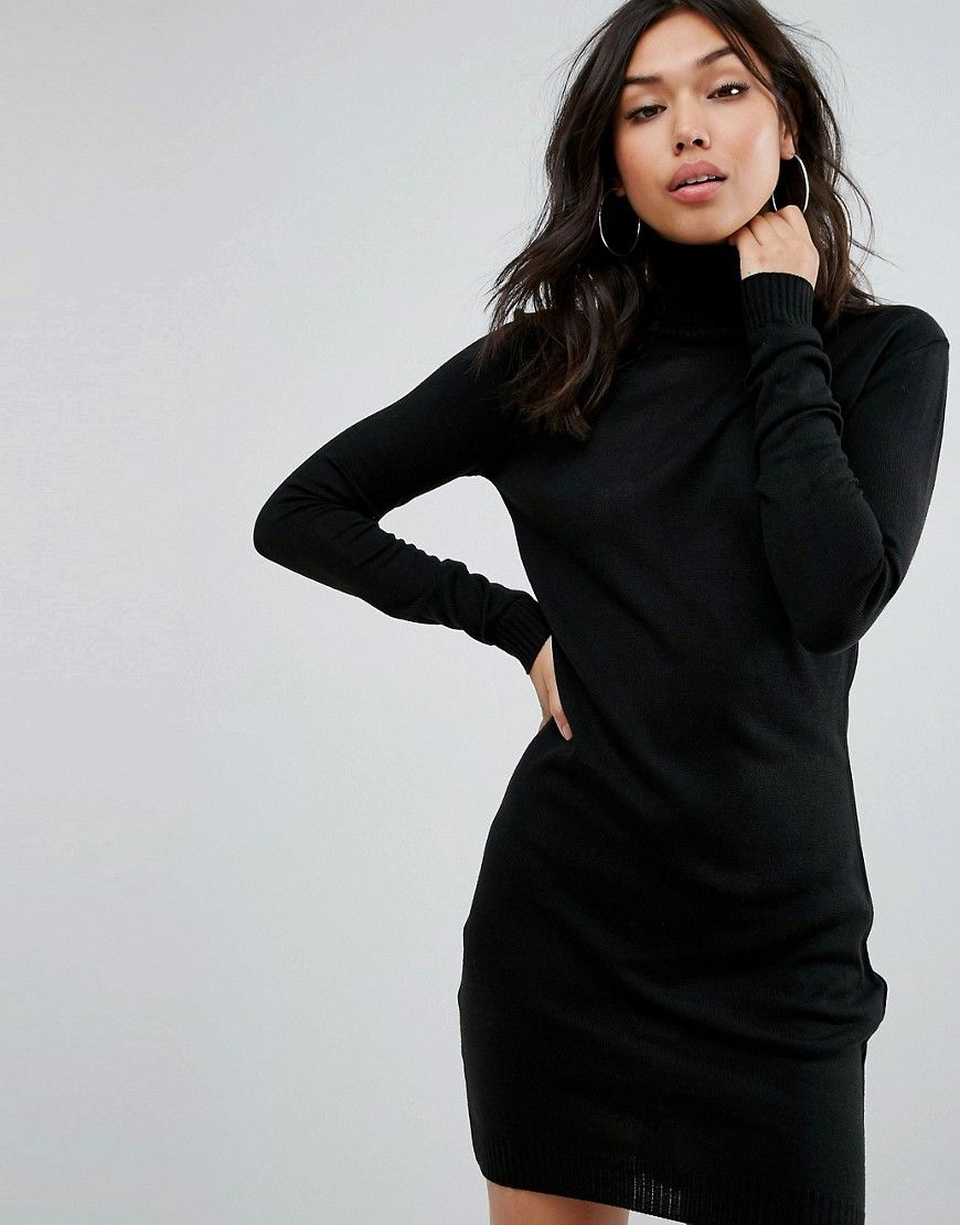 24bb0d7a91c Boohoo basic roll neck sweater dress in black