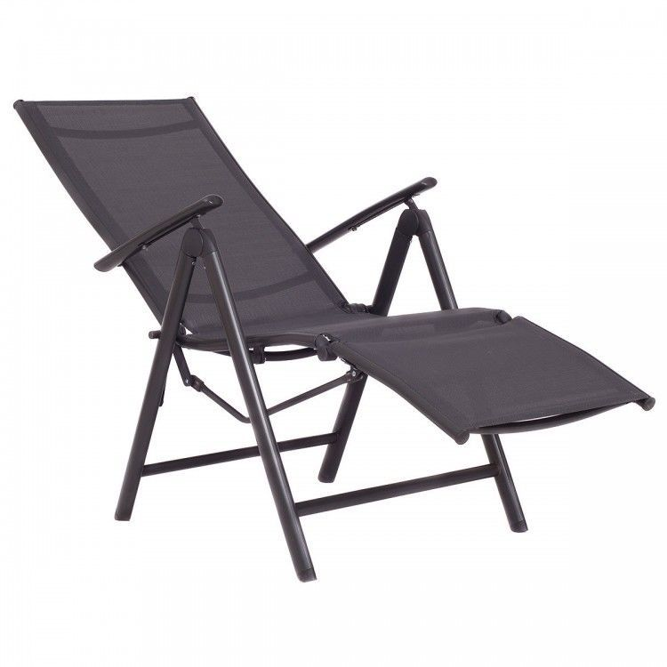Patio Chaise Lounge Chair Metal Outdoor Patio Furniture Folding Recliner  Armrest #PatioFurnitureCollection