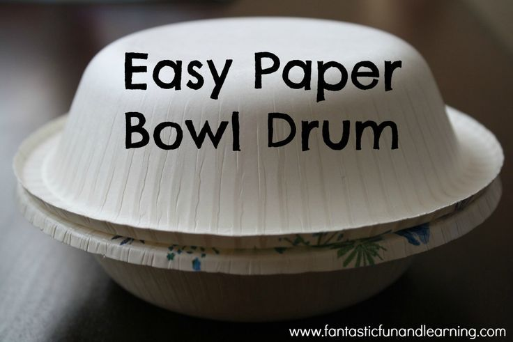 Easy Paper Bowl Drum...and more DIY drums to make and play just for fun or to go along with Hand, Hand, Fingers, Thumb