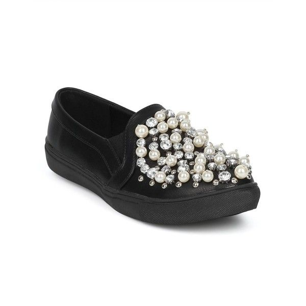 19caa7890 Women s Bedazzled Slip On Pearls and Rhinestones Trendy Luxurious ...