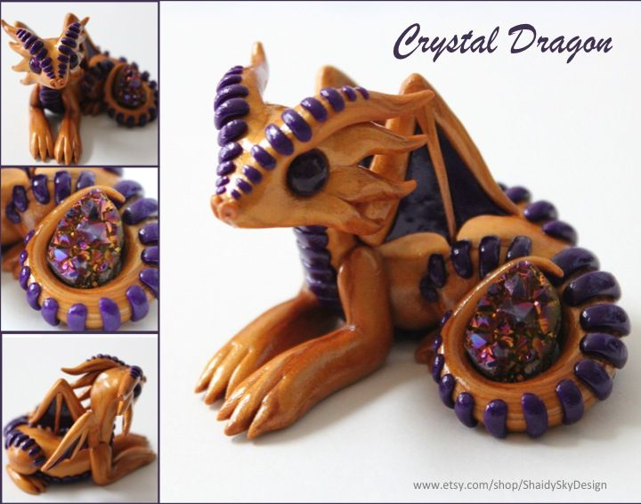 Polymer Clay Crystal Dragon Gold and Purple by ShaidySkyDesign.deviantart.com on @DeviantArt